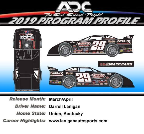 2019 Darrell Lanigan #29 1/24  Dirt Late Model Diecast Car.
