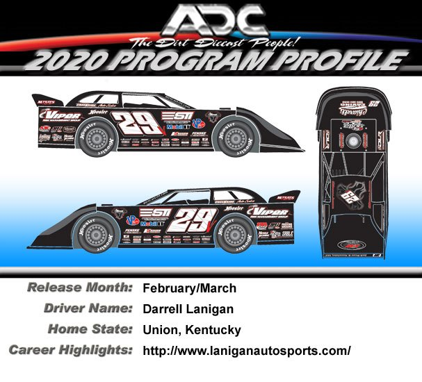 2020 Darrell Lanigan #29 1/24  Dirt Late Model Diecast Car.
