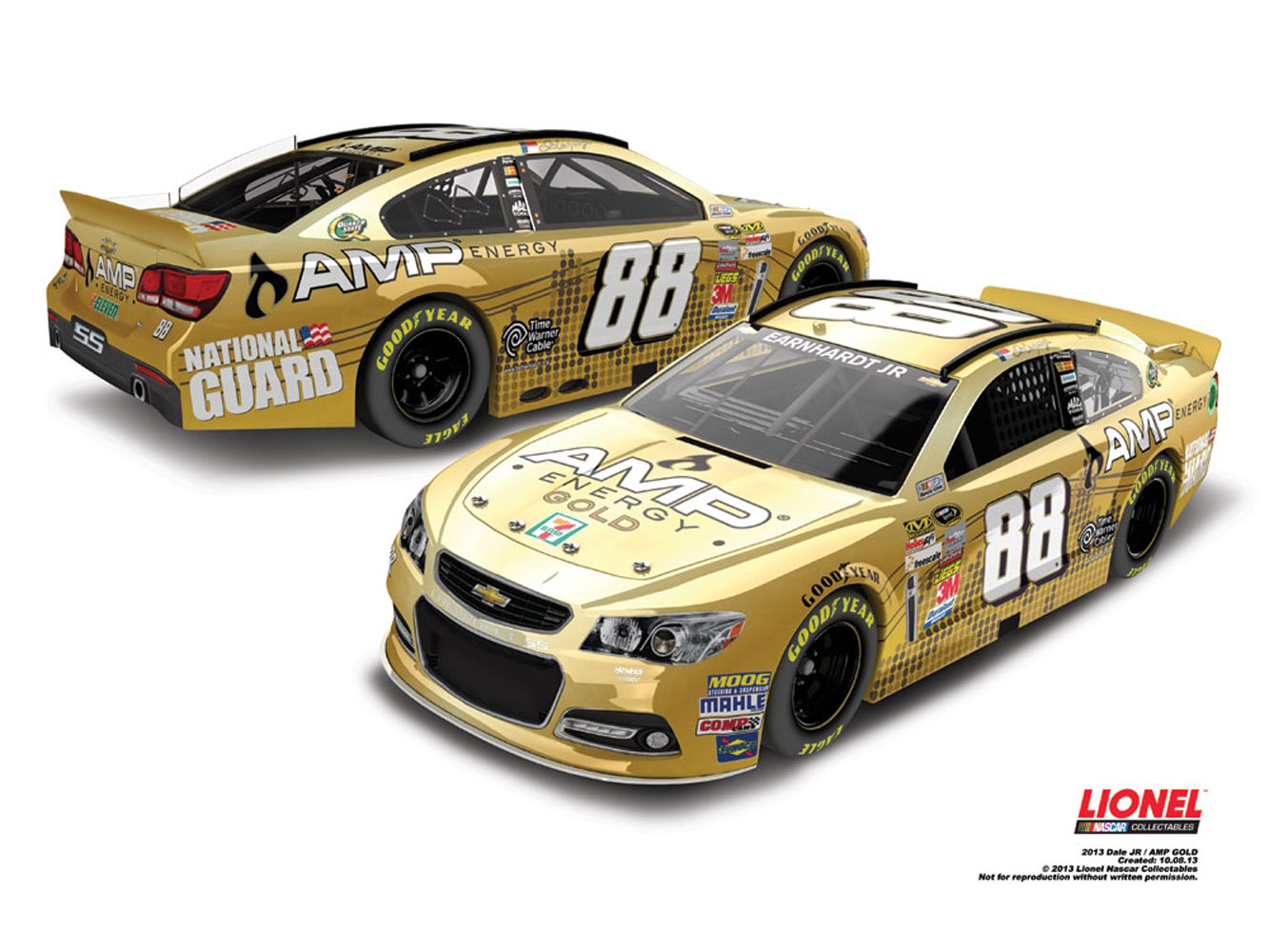 2013 Dale Earnhardt Jr #88 AMP ENERGY GOLD 1/64 Diecast Car.