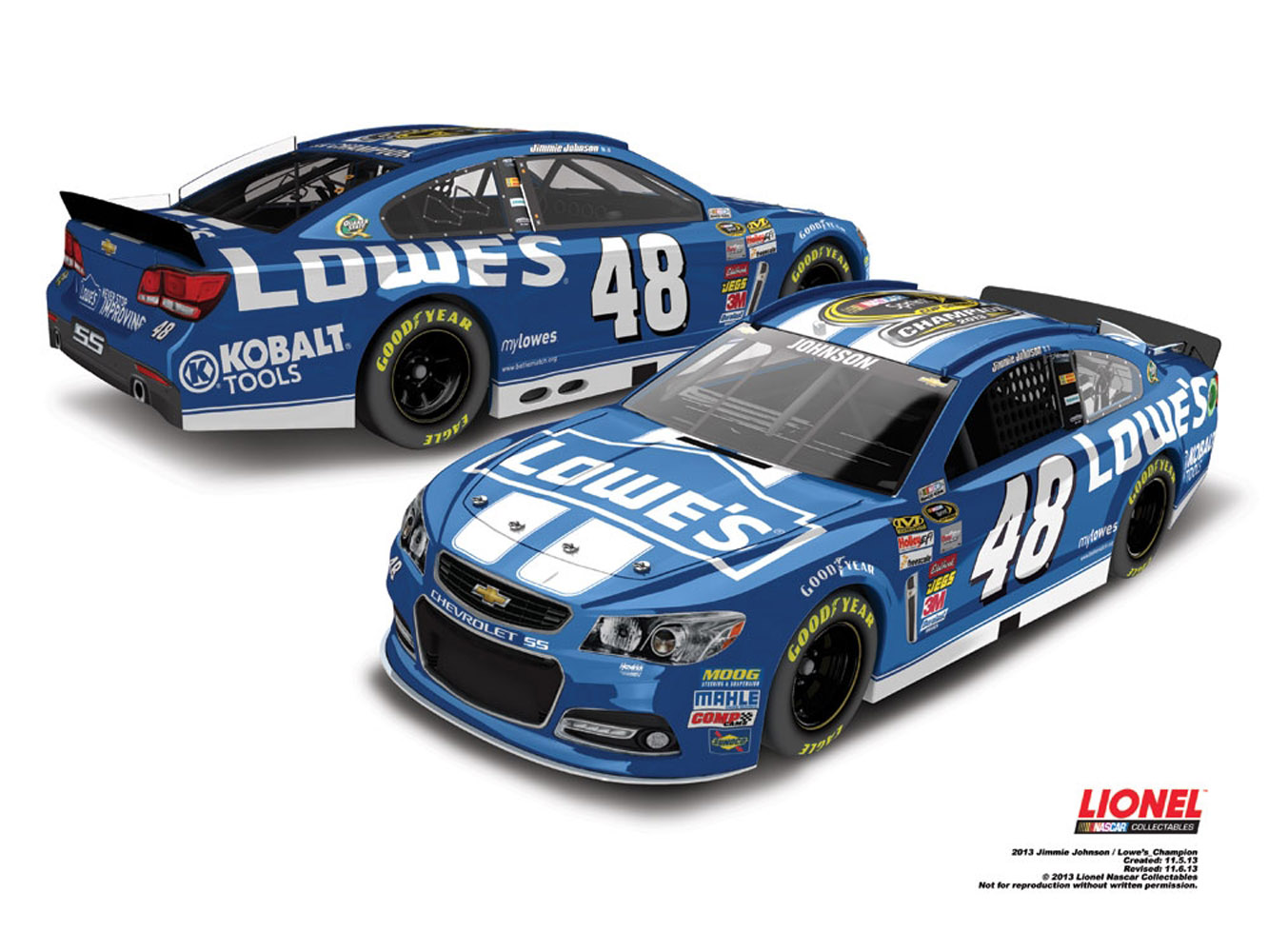 2013 Jimmie Johnson #48 Lowes 6 Time Champ 1/24 Diecast Car