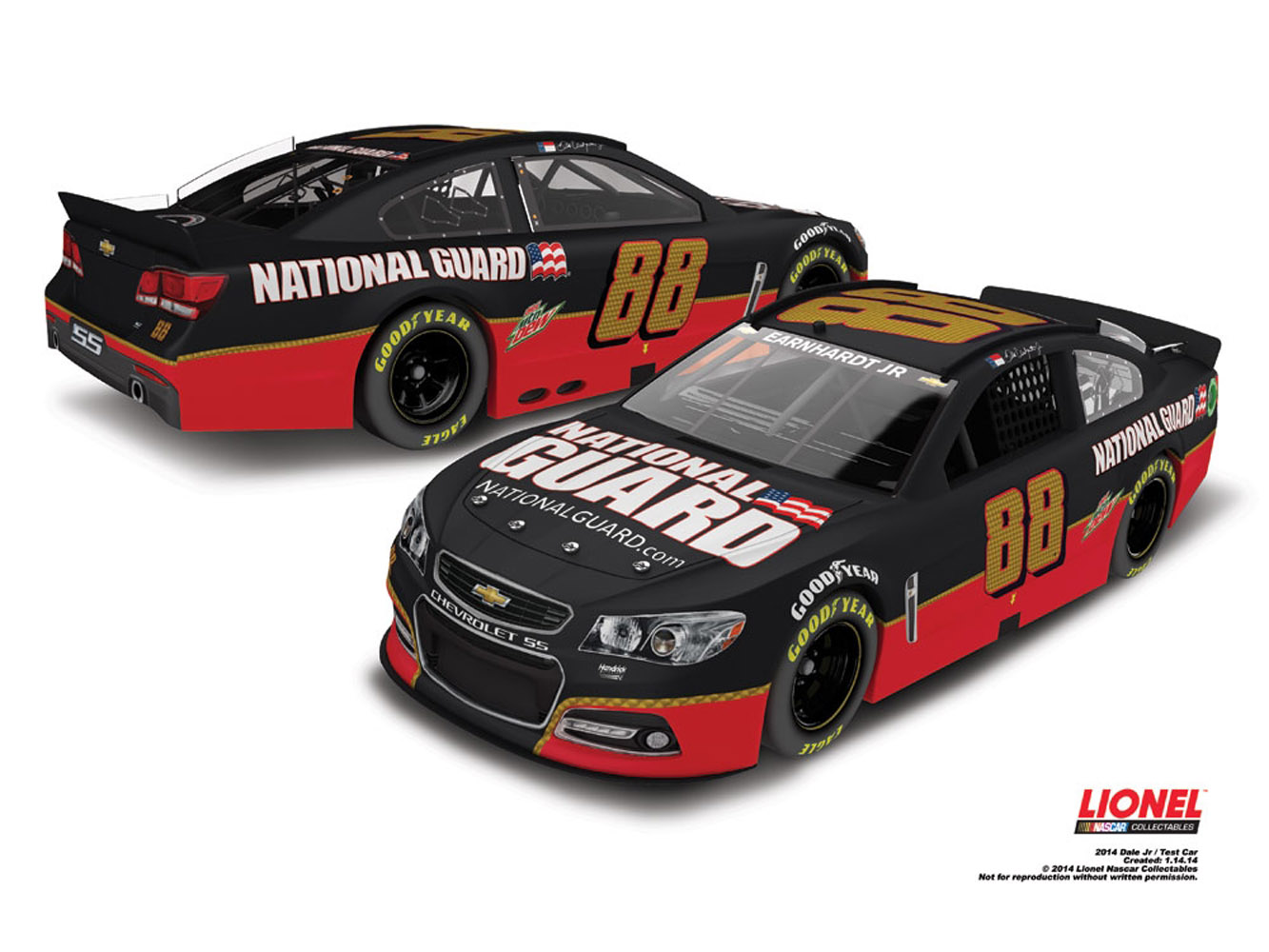 2014 Dale Earnhardt Jr National Guard HMS 30th Anniversary Test 1:24 Diecast Car