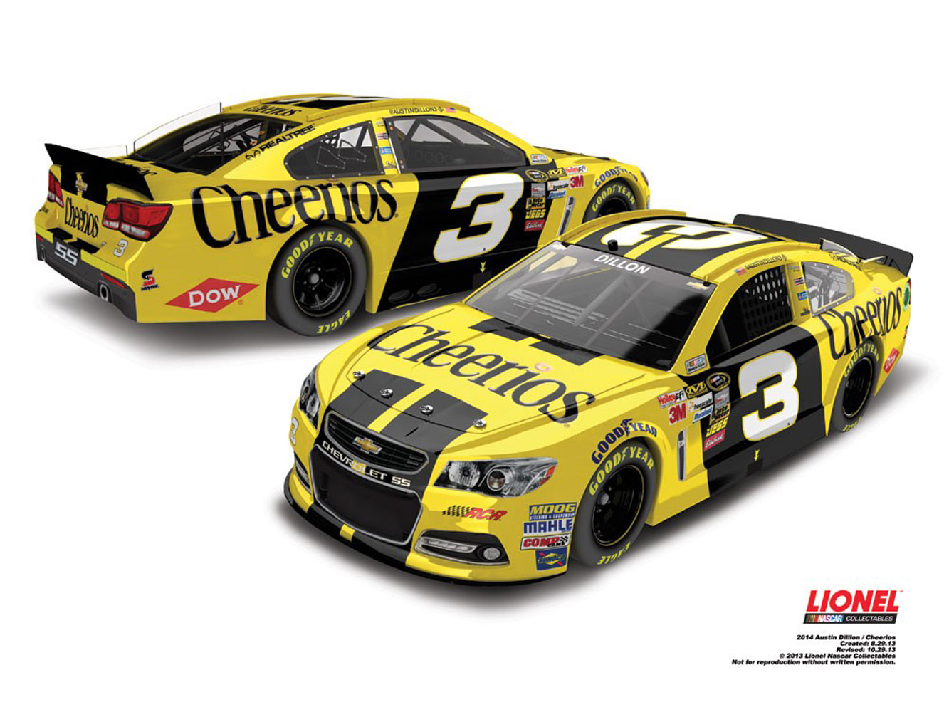 2014 Austin Dillon #3 Cheerios Sprint Cup 1:24 Diecast Car