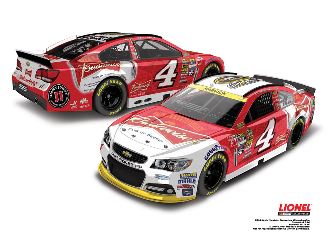 2014 Kevin Harvick #4 Budweiser Sprint Cup Champ 1:64 Diecast Car