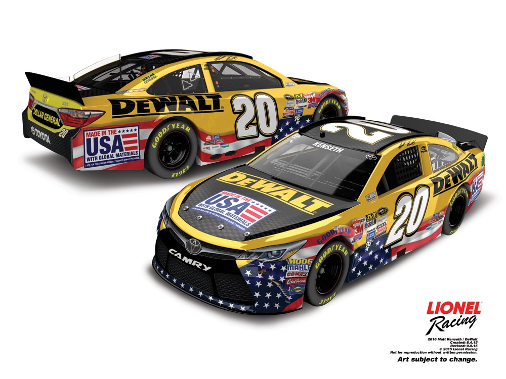 2016 Matt Kenseth #20 Dewalt 1:24 Diecast Car