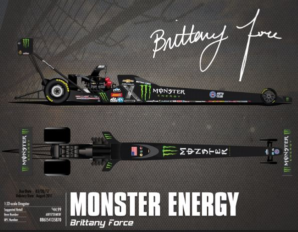 """DNP""2017 Brittany Force Monster Energy 1:32  1ST CHAMPIONSHIP Top Fuel Dragster Diecast Car."