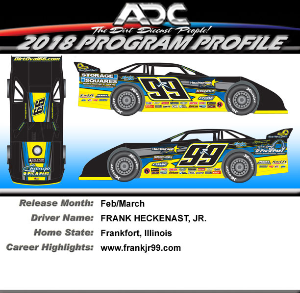 2018 Frank Heckenast Jr #99r 1/64  Dirt Late Model Diecast Car.