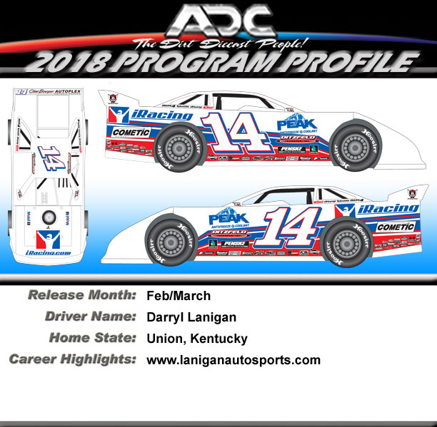 2018 Darrell Lanigan #14 1/64  Dirt Late Model Diecast Car.