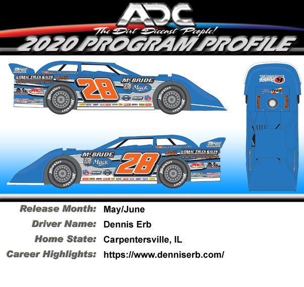 2020 Dennis Erb Jr #28 Dirt Late Model 1/64 Diecast Car
