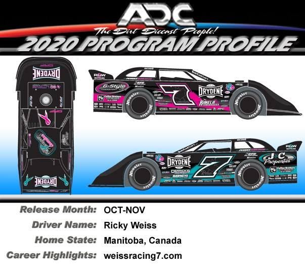2020 Ricky Weiss # 7 Cancer Awareness 1/64 Dirt Late Model Diecast Car.