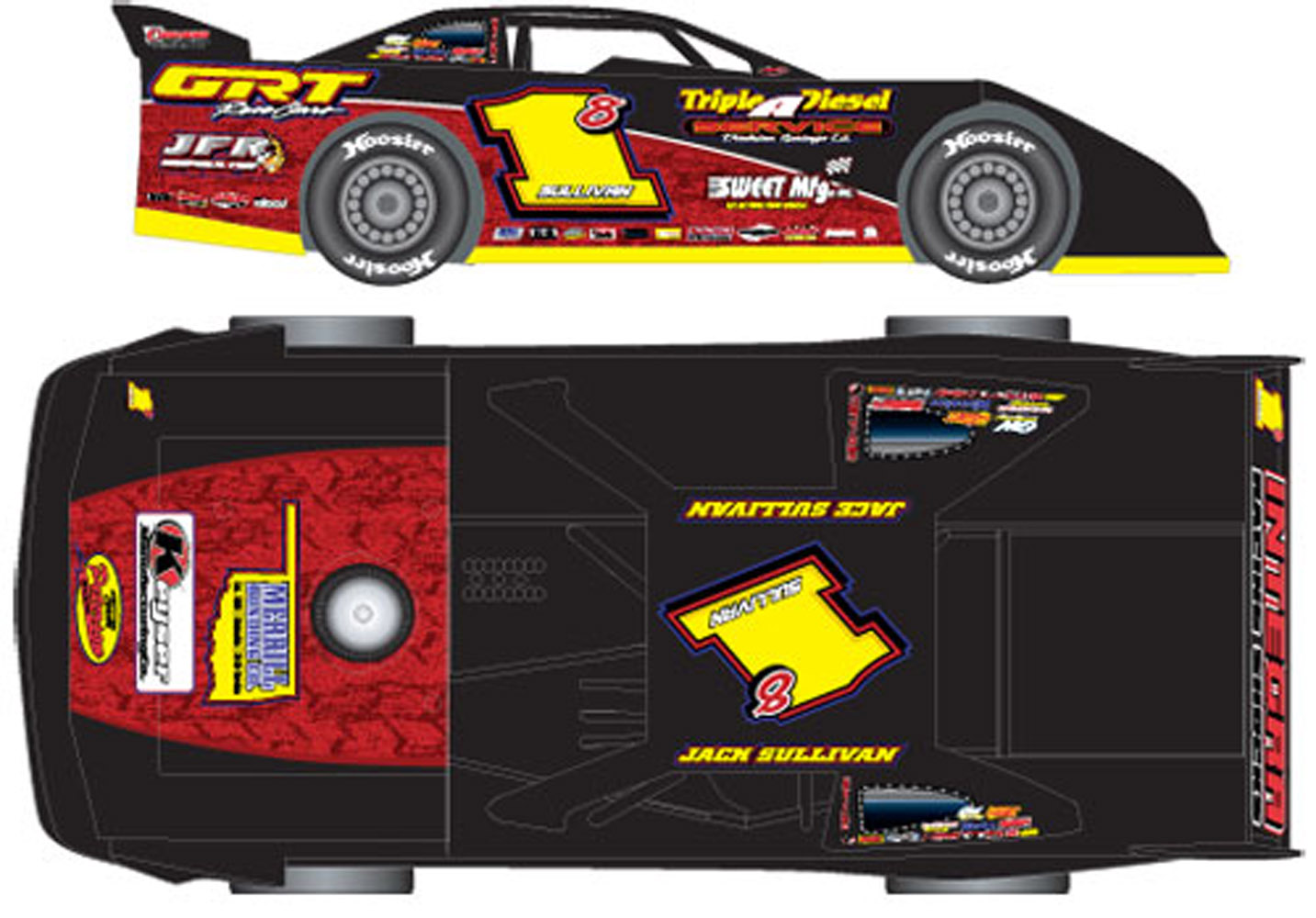 2012 JACK SULLIVAN  #18  1/24 ADC Dirt Late Model Diecast Car