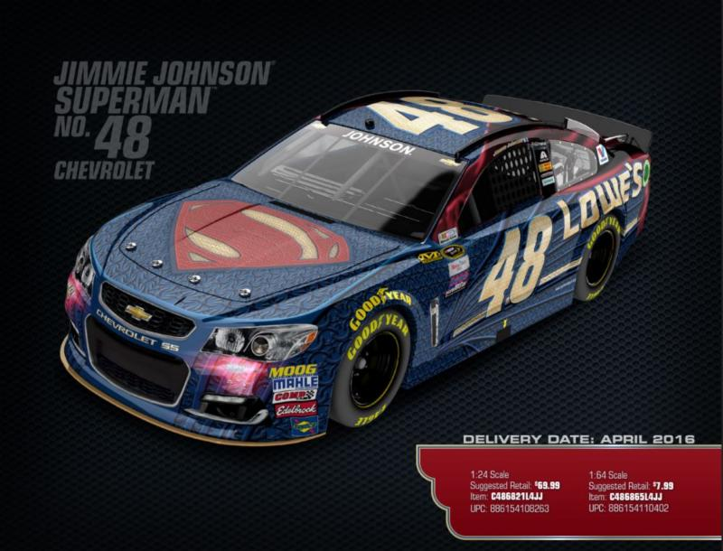 2016 Jimmie Johnson #48 Superman 1:64 Diecast Car