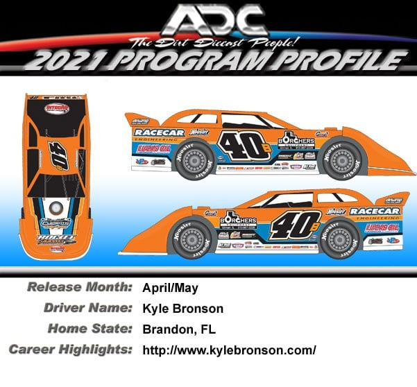 2021 Kyle Bronson #40b 1/24 Dirt Late Model Diecast Car.