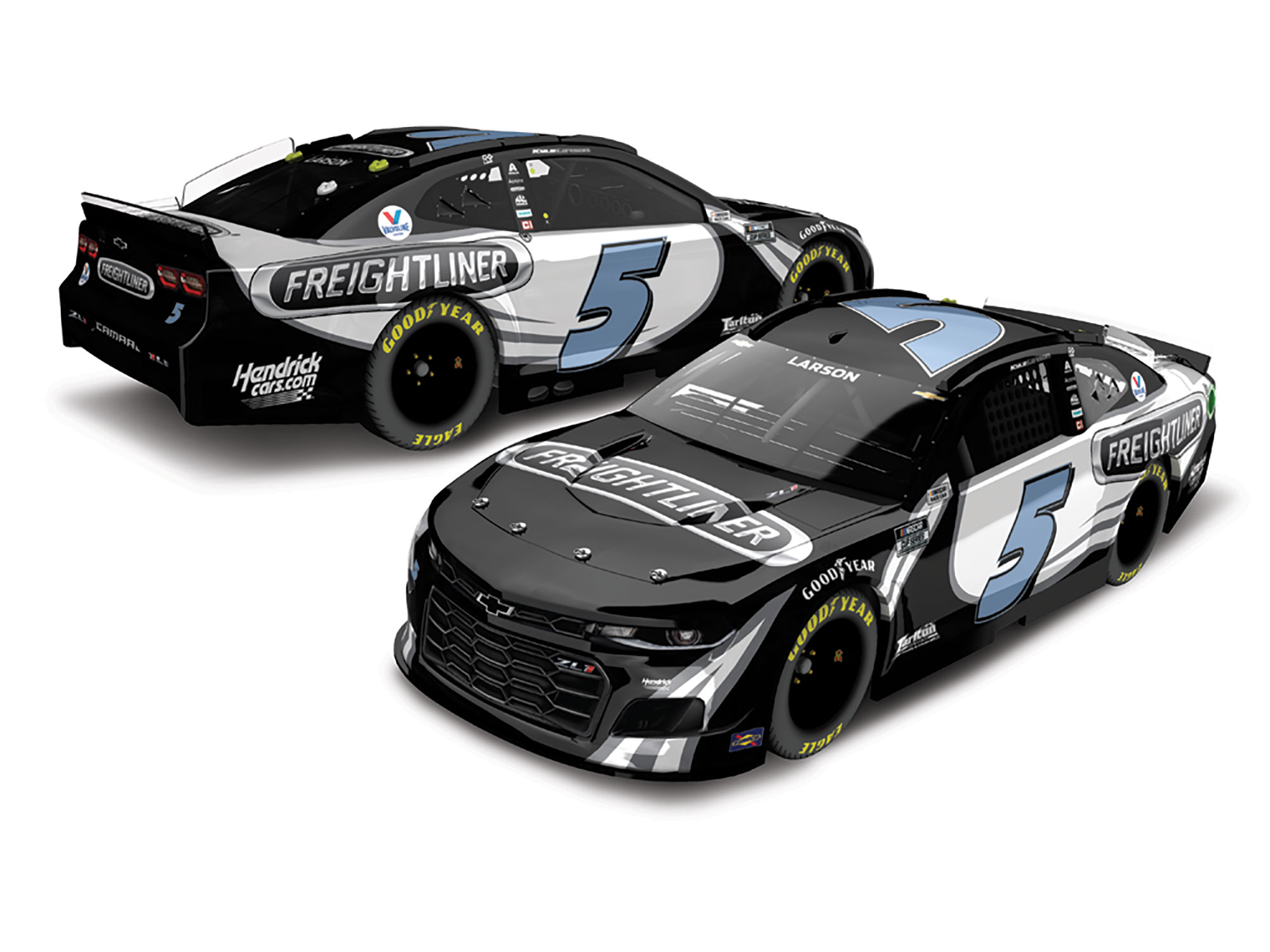 2021 Kyle Larson #5 Freightliner 1:24 Color Chrome Nascar Diecast Car.