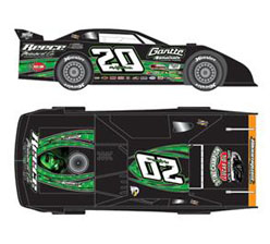 2013 JIMMY OWENS #20 3 Time Champ 1/24 Dirt Late Model Diecast Car.