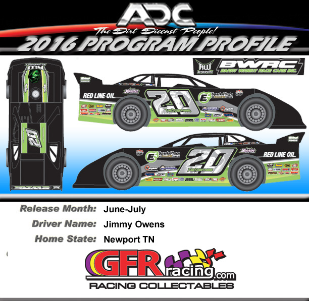 2016 JIMMY OWENS #20 1/24 Dirt Late Model Diecast Car.