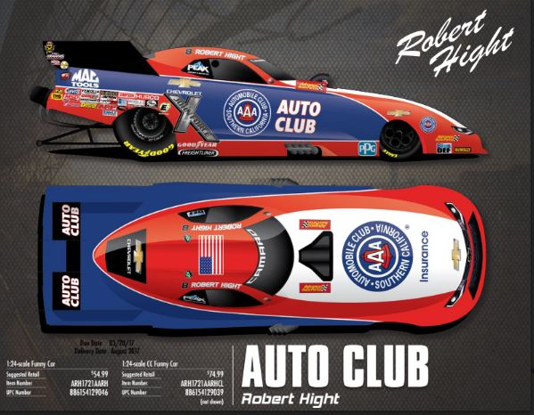 2017 Robert Hight AAA 1/24 Diecast Funny Car.