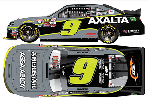 "2017 William Byron ""Autographed"" #9 Axalta/Ameristar 1:24 Scale HO Diecast Car"