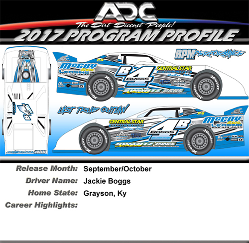 2017 Jackie Boggs #4B 1/64 Dirt Late Model Diecast Car.