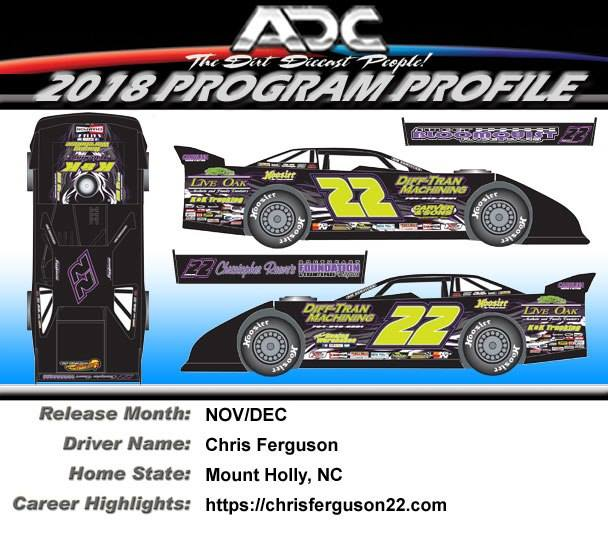2018 Chris Ferguson #22 Dirt Late Model 1/24 Diecast Car