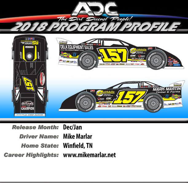 "2018 Mike Marlar #157 ""CHAMPIONSHIP"" 1/24 Dirt Late Model Diecast Car."