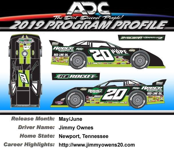2019 JIMMY OWENS #20 1/64 Dirt Late Model Diecast Car.