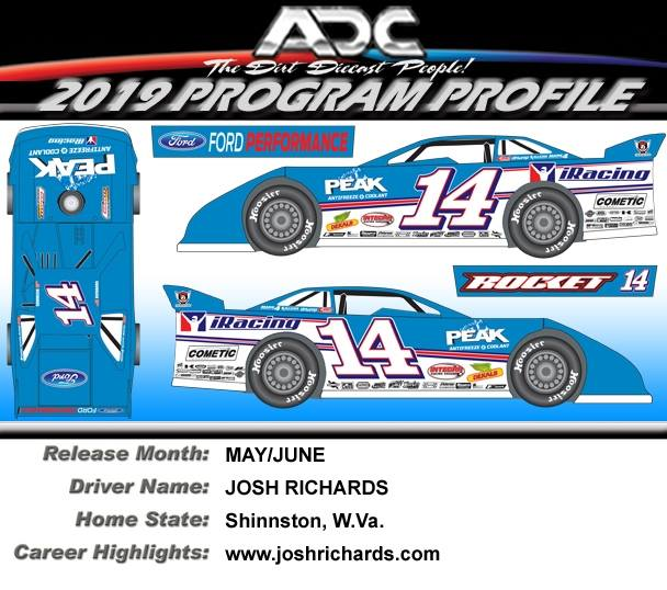 2019 JOSH RICHARDS #14 1/24 Dirt Late Model Diecast Car