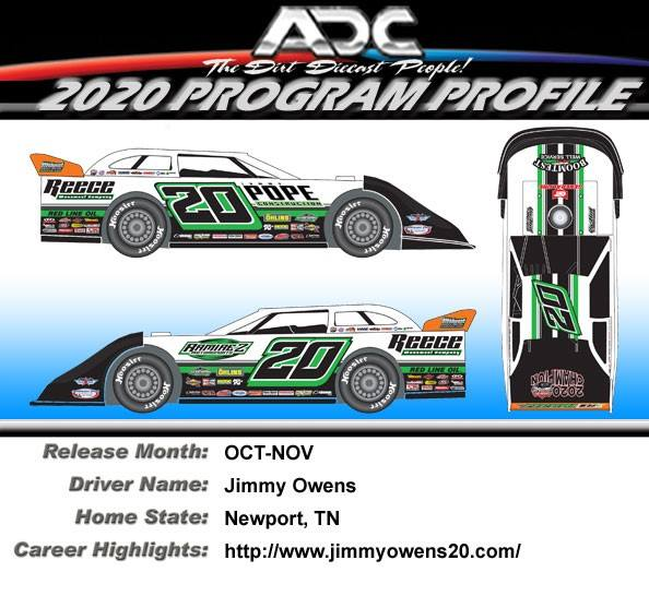 2020 JIMMY OWENS #20 4 TIME CHAMP 1/24 Dirt Late Model Diecast Car.