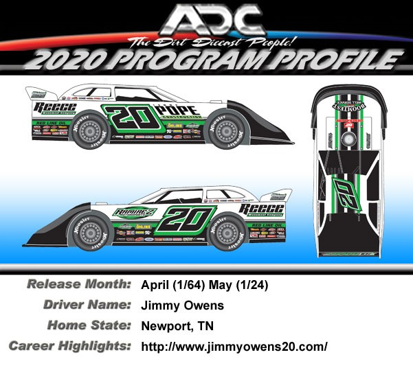 2020 JIMMY OWENS #20 1/64 Dirt Late Model Diecast Car.