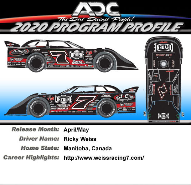 2020 Ricky Weiss # 7 1/24 Dirt Late Model Diecast Car.