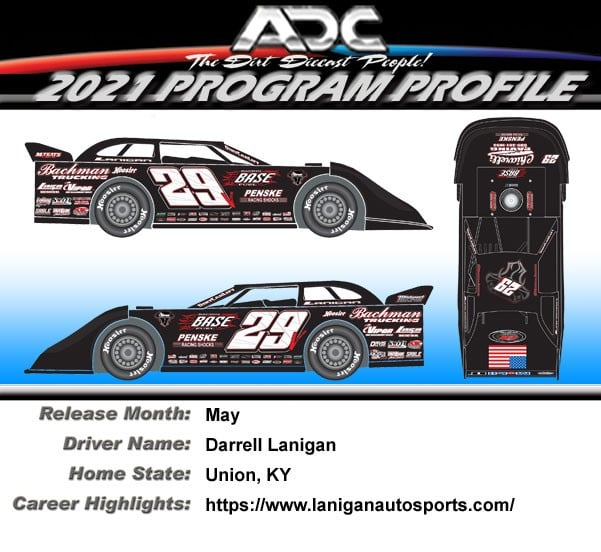 2021 Darrell Lanigan #29 1/24  Dirt Late Model Diecast Car.